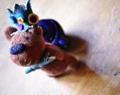 Teddy Bear, Birthday Bear, Wool Bear, Pocket Toy, Needle Felted animal, Brown bear, by wooly topic