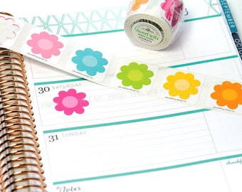 """Doodlebug Flower Blossom Stickers - 1"""" diameter 6 Colors - Choose Roll of 100 or Small Pack of 48"""