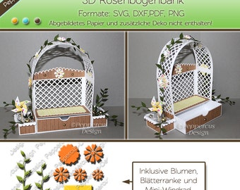 Plotter file - 3D roses bow Bank with flowers, leaves and wind turbine / PD003