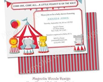 Circus Baby Shower Invitation, Carnival Baby Shower Invitation, Boy Baby Shower Invitation - Printable Digital File