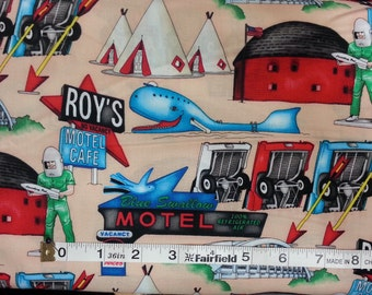 100% cotton Quilting fabric by the 1/2 yard route 66 travel vacation tee pee roadside attractions vintage retro hotel motel landmark