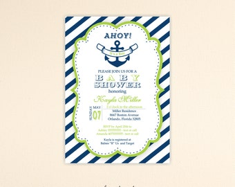 Nautical Baby Shower Invitation, boy, gender reveal, ahoy it's a boy, sprinkle, modern, digital, printable invite B3315