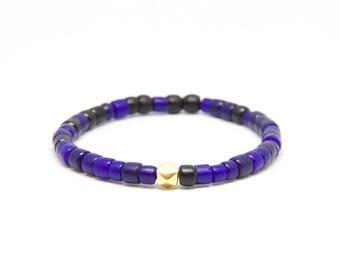 Beaded Bracelet in 18K Solid Yellow Gold - Beach Boho Stretch Cord - Black & Blue Czech Masai Jewelry Glass - Men Women Unisex Gift Him Her