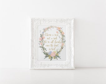 """INSTANT DOWNLOAD... Choose A Seat Sign... Pick A Seat Not A Side Printable 8x10"""" DIY Wedding Poster Signage... Floral Pink and Gold"""