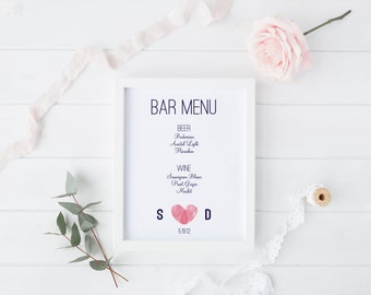 Custom Bar Menu DIY Wedding Sign Printable - Modern Thumbprint Heart Monogram design