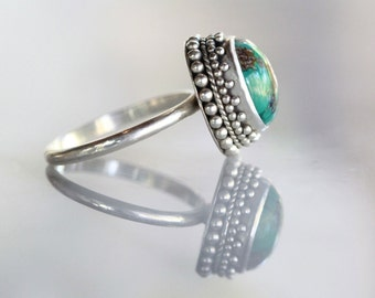 Natural Turquoise Ring, Granulated Solid 925 Sterling Silver Ring, Statement Ring, Boho Rings, Boho Chic, Handmade Sterling, Gift, Don Biu