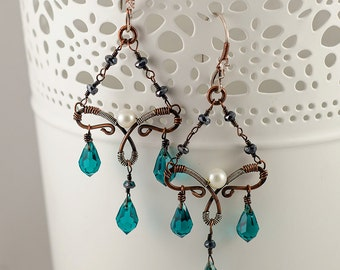 Teal-Blue Mixed Metal Chandaliers, Wire Wrapped Earrings, Lightweight, Victorian Inspired, Delicate, Pearls, Black Spinel, Original Design