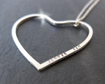 Long Personalised Heart Necklace, Silver Heart Necklace with Quote, Long Heart Pendant, Large Heart Necklace with Names, Large Heart Pendant
