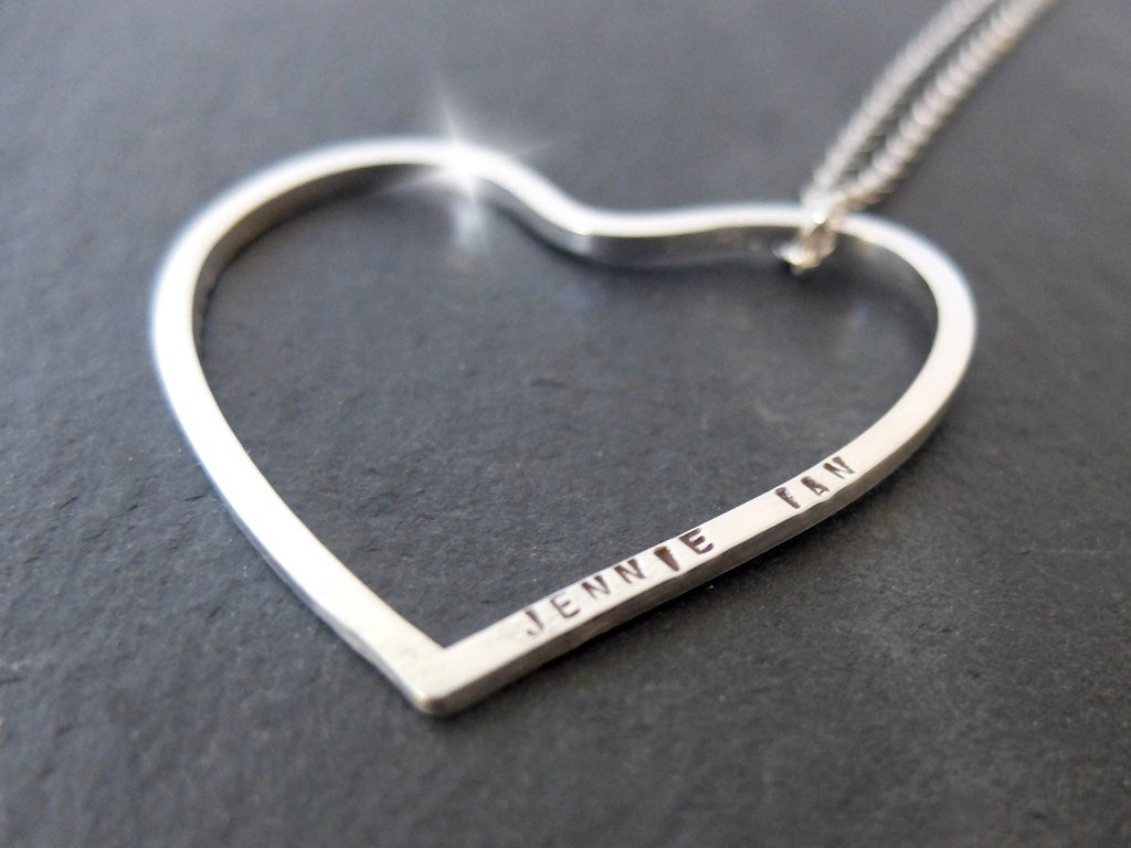 Long personalised heart necklace silver heart necklace with quote long personalised heart necklace silver heart necklace with quote long heart pendant large heart necklace with names large heart pendant mozeypictures Images