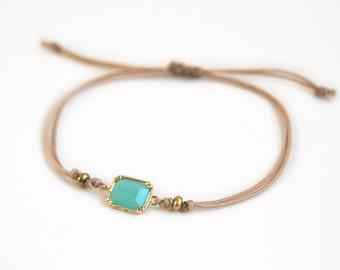 Minimalistic bracelet, mint faceted stone bracelet with beige cord, friendship bracelet, gift for her