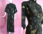 "SALE 25% OFF ALFRED Shaheen 1950's Vintage Cotton Black with Gold and Silver Metallic Hawaiian Asian Musician Print Pake Muu Long Dress 27"""