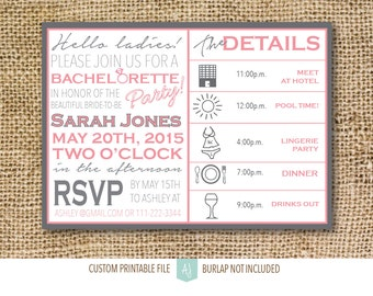 Pink & Grey, Bachelorette Party Invitation- Printable File- Last Fling Party or Hen Party Invitation