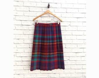 Vintage Plaid Skirt Pleated Skirt Multi Color Skirt