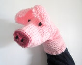 Pig Hand Puppet Hand Knit Pink Pig Sock Puppet for Adult or Child Birthday Gift Present Toy Pretend Play