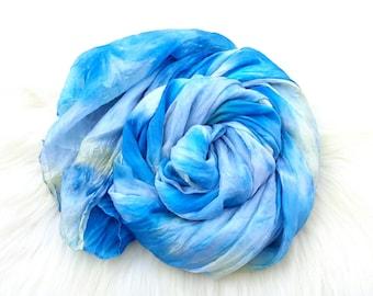 Blue silk Scarf hand dyed shades aqua grey beige Free Shipping