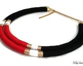 Funky necklace. Tribal statement necklace. Color block necklace. Multistrand necklace. Boho chic necklace. Ethnic necklace. African necklace