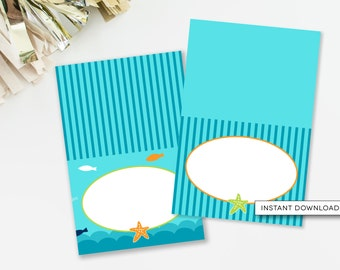 Nautical Food Cards, Under The Sea Baby Shower, Beach Tent Cards, Beach Party Decor, Aqua Pool Party Decor, INSTANT DOWNLOAD, #N2