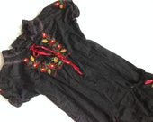 Vintage embroidered blouse Black top with bright flowers embroidery Summer tunic Boho Ethnic top Size M