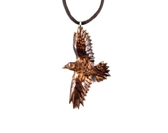 Raven Necklace, Crow Pendant, Raven Pendant, Crow Necklace, Wooden Raven Pendant, Raven Totem, Spirit Animal Raven Jewelry, Crow Jewelry