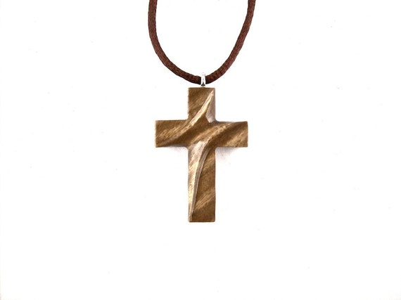 Wooden Cross Necklace Wooden Cross Pendant Cross Necklace