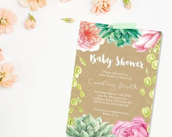 Baby Shower Invitation. Girl. Boy. Gender Neutral. Flowers. Flower Baby Shower Invitation. Printable Baby Shower Invitation.