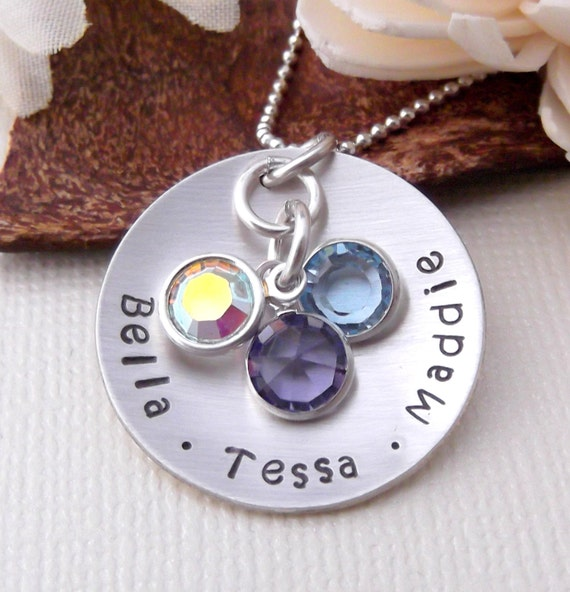 Hand Stamped Mommy Necklace- Personalized Mommy Jewelry- Gift For Mom- Mother's Day Gift- Mother Necklace- Children Birthstone Necklace