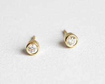 Simple Diamond Earrings, Gold Diamond Stud Earrings, Solitaire Diamond Earrings, Solitaire Diamond Studs, Bezel Diamond Earring
