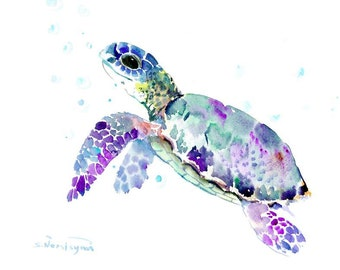 Sea Turtle one of a kind watercolor art, original painting 14 X 11