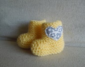Yellow Baby Booties, Newborn Shoes, Gift for Baby Girl, Baby Shoes with Heart, Baby Boots