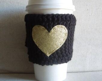 Black Coffee Cozy with Gold Glitter Heart, Mug Sweater, Coffee Sleeve, Mug Cozy