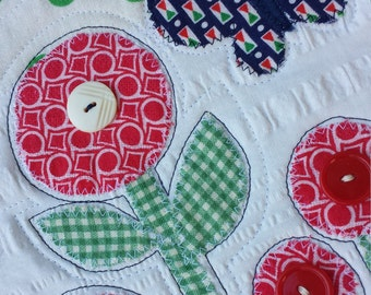 Polka dot garden wall hanging - red flowers and butterfly