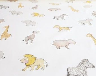 Safari Animal, 100% Cotton, Children's fabric, Kid's animal textile, Perfect for a unisex nursery, craft projects, curtain and dressmaking