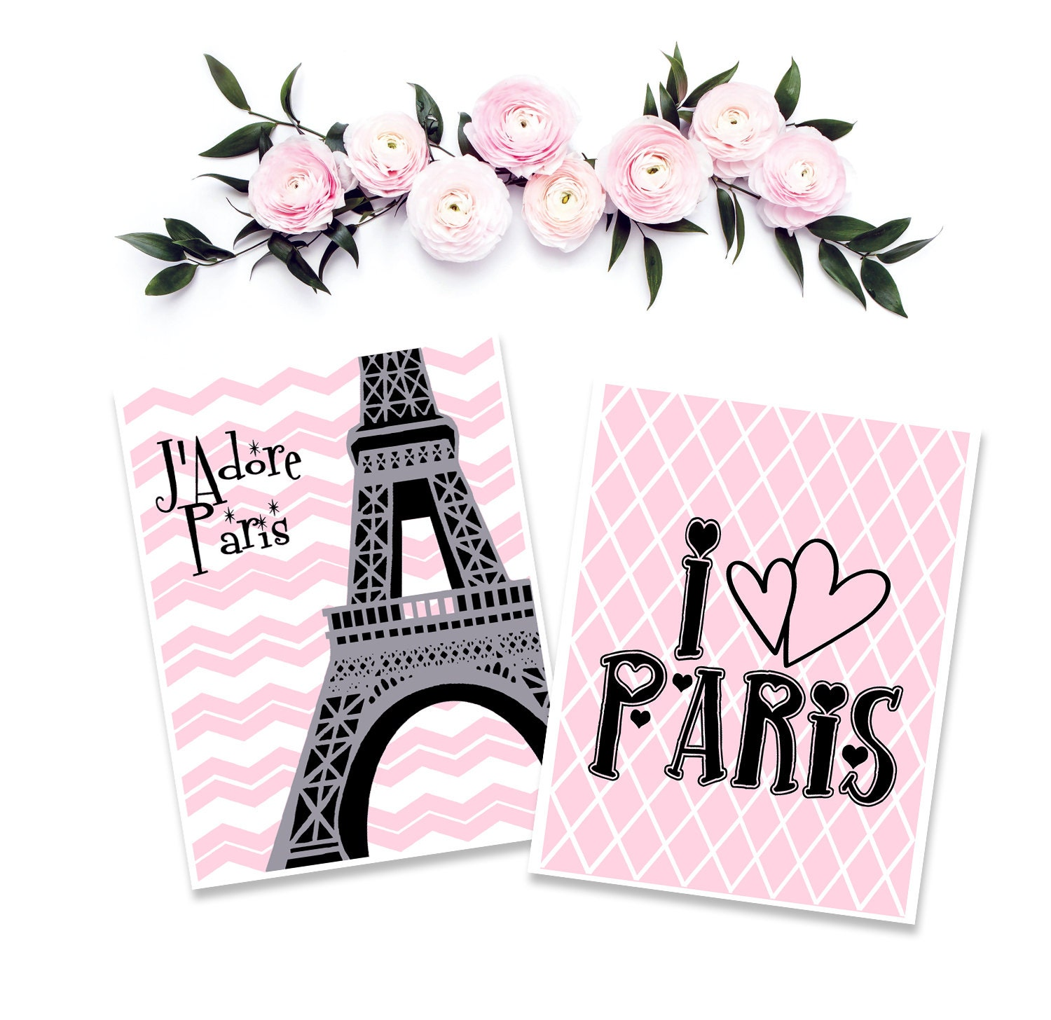 J adore Paris Poster set Pink Girls Bedroom by EmilysWanderlust