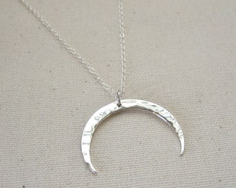 Sterling Silver Crescent Moon Necklace, Double Horn Necklace - Celestial Jewelry