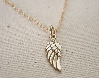 Bronze Angel Wing Necklace on Gold Filled Chain - Memorial Jewelry - Personalize