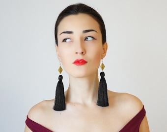 Chatio Christmas Gift Christmas Fashion Black Tassel Earrings Unique Gifts For Her Tassel Jewelry Geometric Earrings Statement Earrings