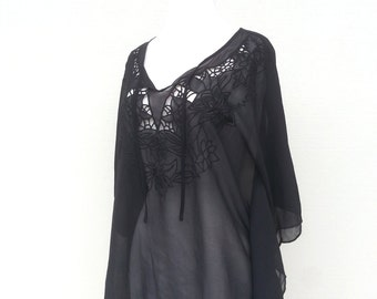 Black Sheer Flower Embroidered Coverup Tunic Blouse