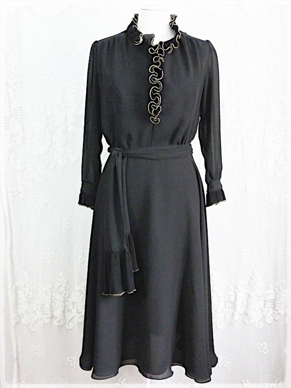 Black CHIFFON DRESS with golden RUFFLE