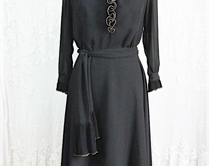 Black CHIFFON DRESS with golden RUFFLE
