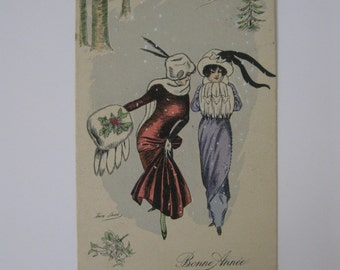 Xavier Sager - Artist Signed Post Card - Bonne Annee or Happy New Year - KF, Paris #4285 - Excellent Condition - Used - 1920s