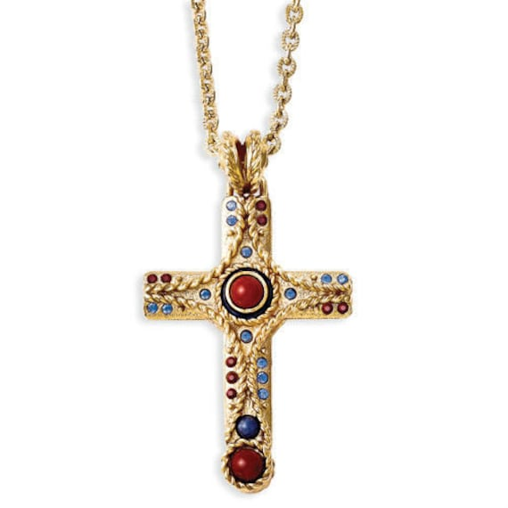 ON SALE - Jackie Kennedy 24K GP Cross Necklace - Gemstone Cross, Box and Certificate