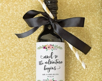 mini wine bottle label wedding favors thank you script