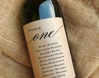 Wedding Seating Chart Wine Bottle Labels \\ Unique Ideas