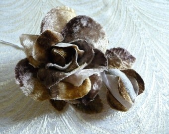 Mottled Brown Velvet Rose and Bud Millinery for Hats, Weddings, Corsage 3FN0057T