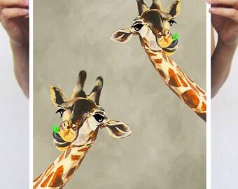 Giraffes with green leaf : Art Print Poster A3 Illustration Giclee Print Wall art Wall Hanging Wall Decor Animal Painting Digital Art