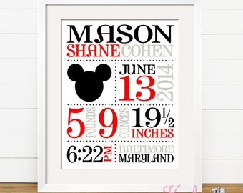 Personalized Baby Announcement Art Print,  Personalized Baby Gift, Baby Boy, Nursery Art,  Mickey Mouse Inspired, Disney Inspired