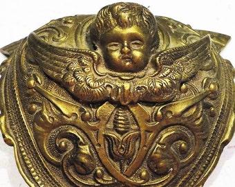 Antique Brass Cherub Furniture Ornament Corner Bracket Decorative Victorian Design