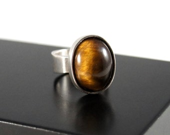 Rare Bernard Chaudron Ring - Glowing Tigers Eye - Sterling Silver - Chunky Big - Modernist - Quebec Canada - 1960's - Size 9