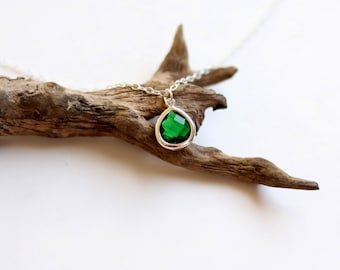 Emerald Necklace - Necklace - Silver Necklace - Stone Necklace - Birthstone Necklace - Pendant Necklace - Green Stone Necklace