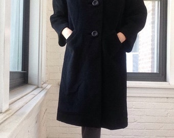 1960s Virgin Wool Coat with Fur Collar